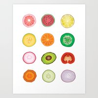 Fruit and Vegetable Collaged Art Art Print