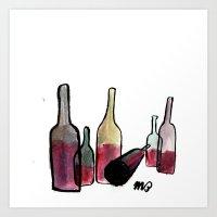 Wine Bottles 3 Art Print