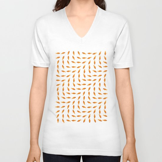 Goldfish Pattern V-neck T-shirt