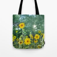 Sunflowers in the forest Tote Bag