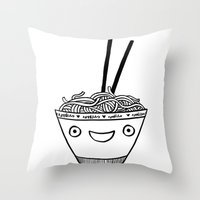 Happy Noodles Throw Pillow