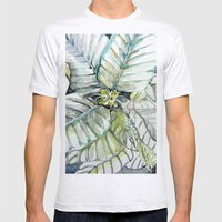 Poinsettia Watercolors Mens Fitted Tee Ash Grey SMALL