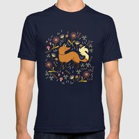 Cute As A Fox Mens Fitted Tee Navy SMALL