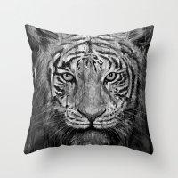 Tiger Black & White Throw Pillow