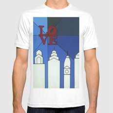 blue LOVE shine Mens Fitted Tee White SMALL