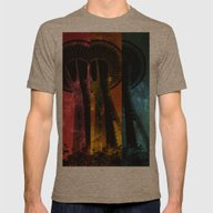 Colorful Space Needle Mens Fitted Tee Tri-Coffee SMALL