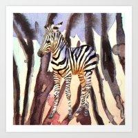 Camouflage Zebra, wildlife art, zebra art, cute nursery zebra, zebra pillow, safari art Art Print