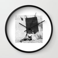The cat and the pants Wall Clock