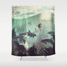 The Sea Unicorn Lady Shower Curtain