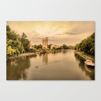 sunset on the canal Canvas Print