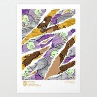 Uranians Vs Dinozilla Art Print