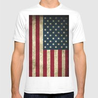 American Flag  Mens Fitted Tee White SMALL