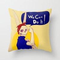 female bunnism Throw Pillow