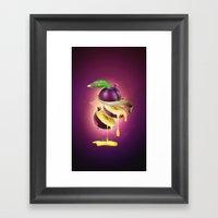 Sliced Plum Framed Art Print