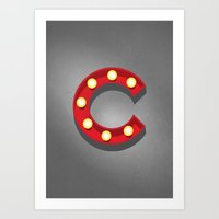 C - Theatre Marquee Letter Art Print