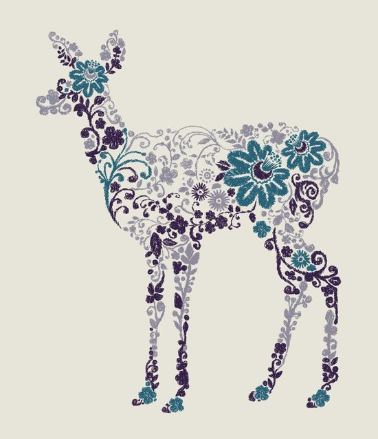 Flower Deer Art Print