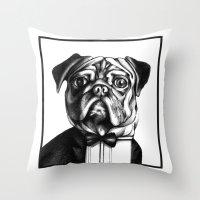 Puglass Throw Pillow
