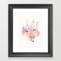Fox & Foxgloves // Cream Framed Art Print