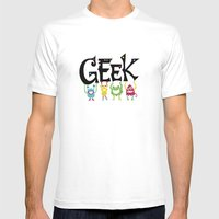 Geek Monsters Mens Fitted Tee White SMALL
