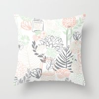 Cucumber Peaches and Cream Mason Jar wedding Throw Pillow
