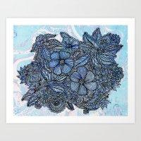 Flowers On Blue.  Art Print
