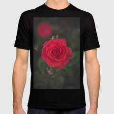 Red Rose SMALL Mens Fitted Tee Black