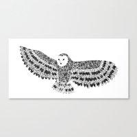 Black And White Barn Owl… Canvas Print