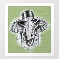I'm too SASSY for my hat! Vintage Elephant. Art Print