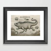 Swimming Dragon Iguana Framed Art Print