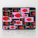 Love Strawberries Abstract  in Grey, Black & Pink iPad Case