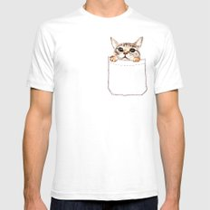 Pocket cat Mens Fitted Tee White SMALL