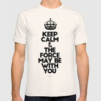 Keep Calm and The Force May be with you - by Genu WORDISIAC™ TYPOGY™ Mens Fitted Tee Natural SMALL