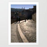 Cobbled Street near Prague Castle Art Print