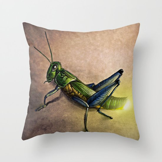 The Firefly and the Grasshopper Throw Pillow