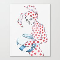 Red Dotted Bunny Canvas Print