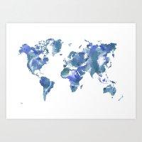 Watercolour World Map (blue/green/white) Art Print