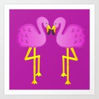 Double Flamingo Love Art Print