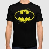 Bat man's Splash Mens Fitted Tee Black SMALL