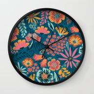 Wall Clock featuring Floral  by Yellow Button Studio