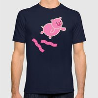 Don't Stop Piggin' Out Mens Fitted Tee Navy SMALL