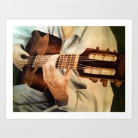 guitar Art Prints featuring guitar by Brianna M. Garcia