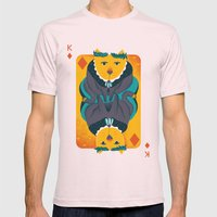 Cat The King Of Diamonds Mens Fitted Tee Light Pink SMALL
