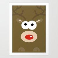 Minimal Reindeer  Art Print