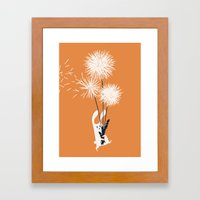 Bunny and Dandelion Bouquet Framed Art Print
