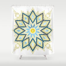 Marble and Gold Pattern in Blue Shower Curtain