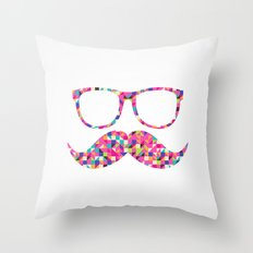 Funny Girly Pink Abstract Mustache Hipster Glasses Throw Pillow