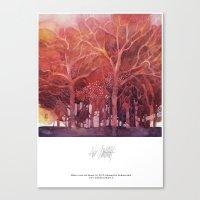 Alberi rossi nel bosco Canvas Print