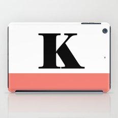 Monogram Letter K-Pantone-Peach Echo iPad Case