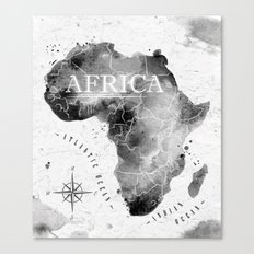 Africa Map In Black Canvas Print