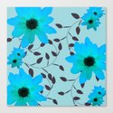 Pale Blue Flowers and Vines Canvas Print